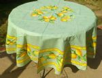 Lemons Tablecloth Round 180cms Green